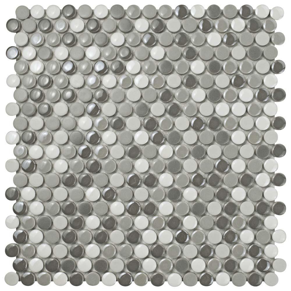 Merola Tile Galaxy Penny Round Luna 11-1/4 in. x 11-3/4 in. x 9 mm ...
