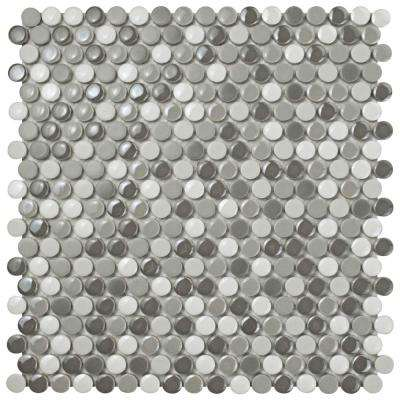 Galaxy Penny Round Luna 11-1/4 in. x 11-3/4 in. x 9 mm Porcelain Mosaic Tile