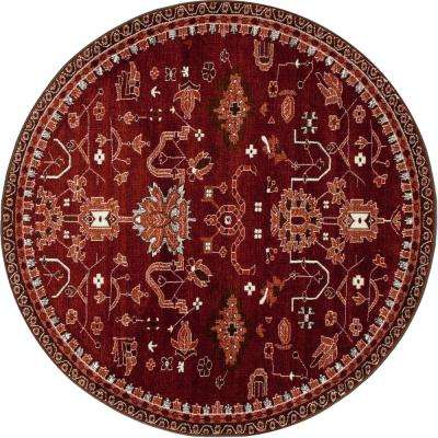 Oasis Red 5 ft. 3 in. x 5 ft. 3 in. Round Area Rug