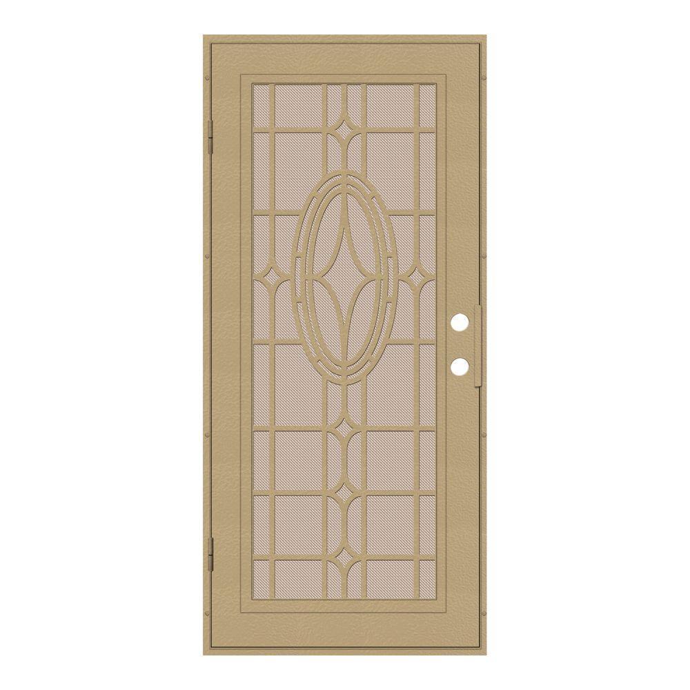 Unique Home Designs 32 in. x 80 in. Modern Cross Desert Sand Left-Hand Recessed Mount Security Door with Desert Sand Perforated Screen