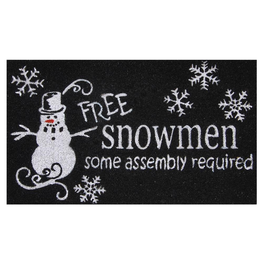 Free Snowmen 17 in. x 29 in. Coir Door Mat