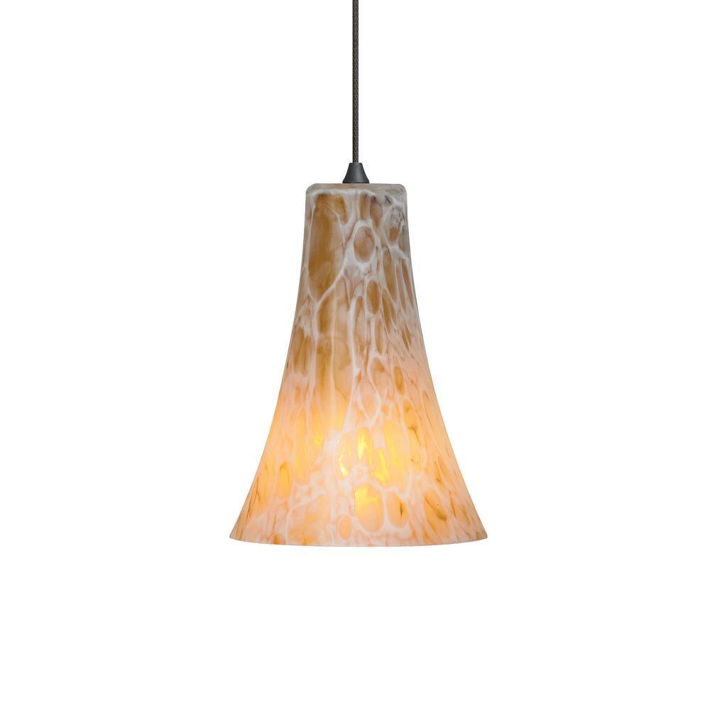 Mini-Indulgent 1-Light Bronze LED Mini Pendant with Amber Shade