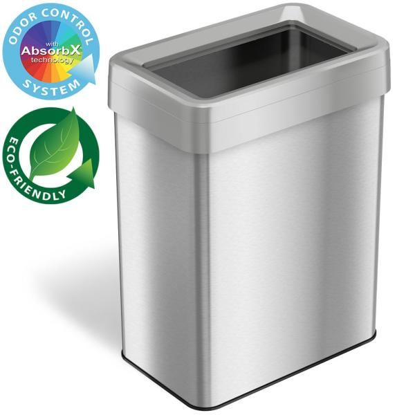 18 Gal. Rectangular Open Top Commercial Grade Stainless Steel Trash Can and Recycle Bin with Dual-Deodorizer
