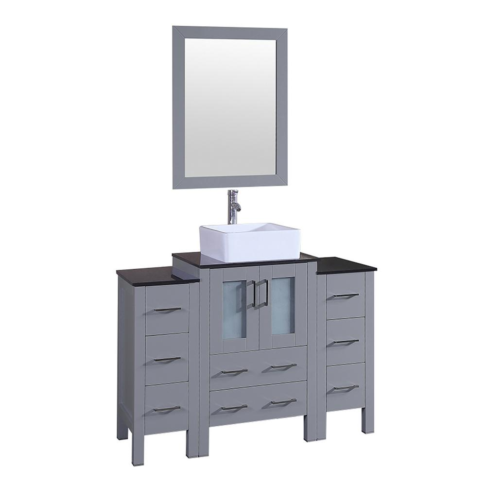 Bosconi Bosconi 48 in. Single Vanity in Gray with Vanity Top in Black with White Basin and Mirror