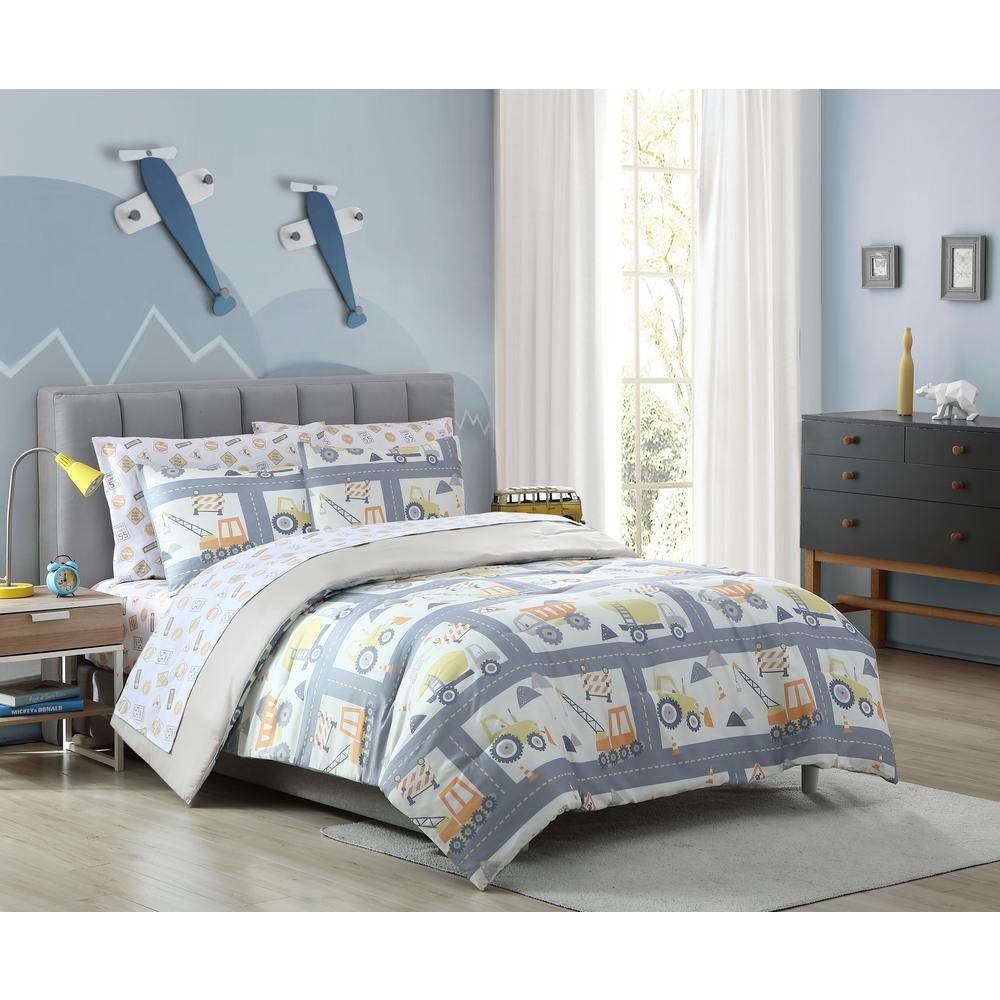3-Piece Construction Land Full Comforter Set