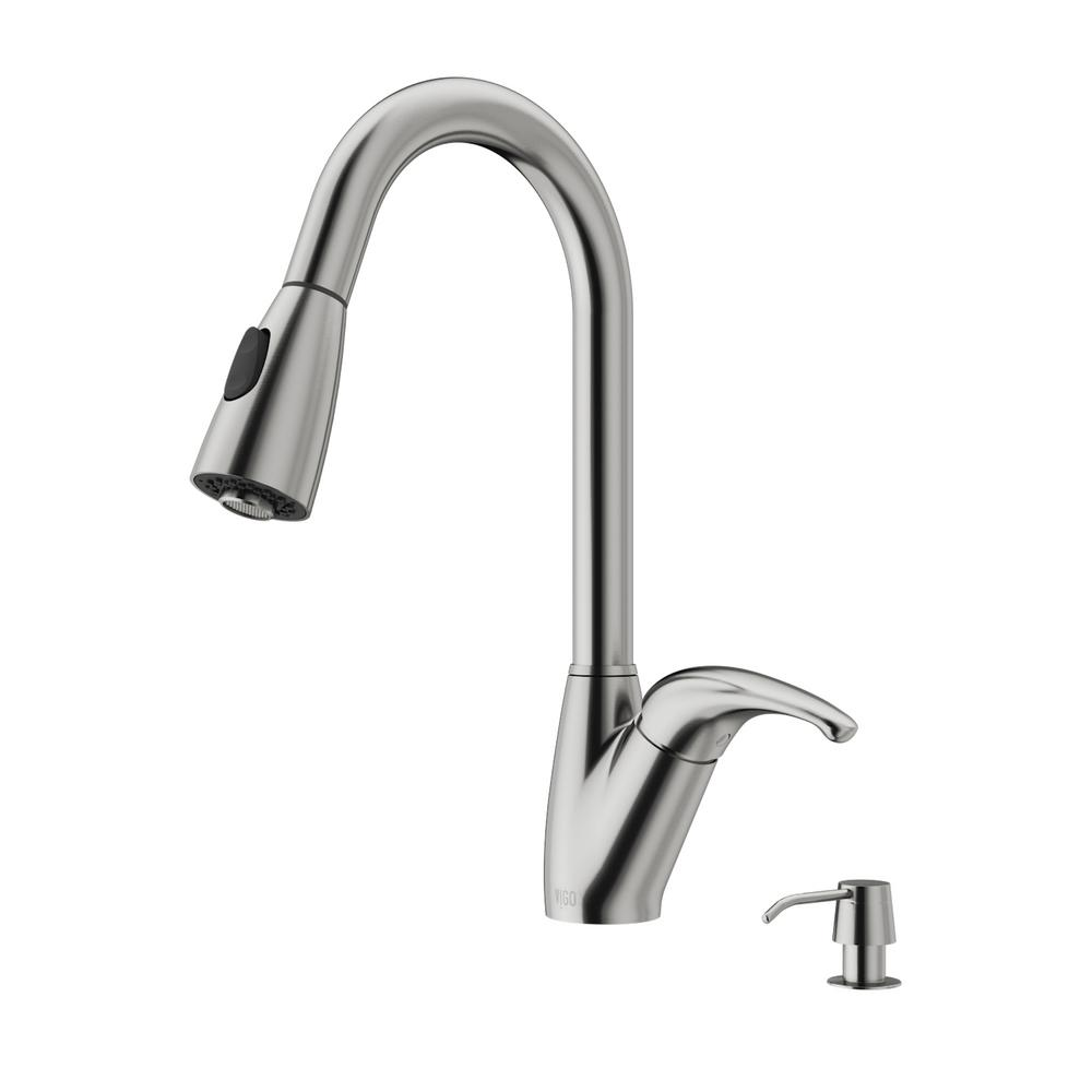 VIGO Single-Handle Pull-Out Sprayer Kitchen Faucet with Soap Dispenser in Stainless Steel
