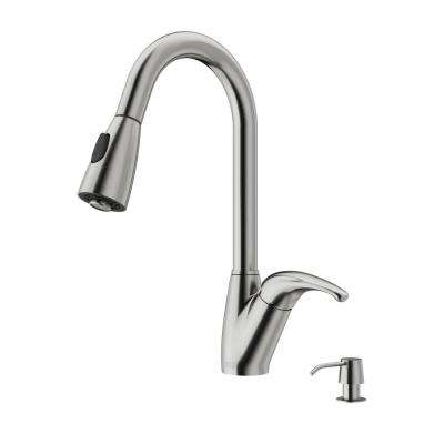 Single-Handle Pull-Out Sprayer Kitchen Faucet with Soap Dispenser in Stainless Steel