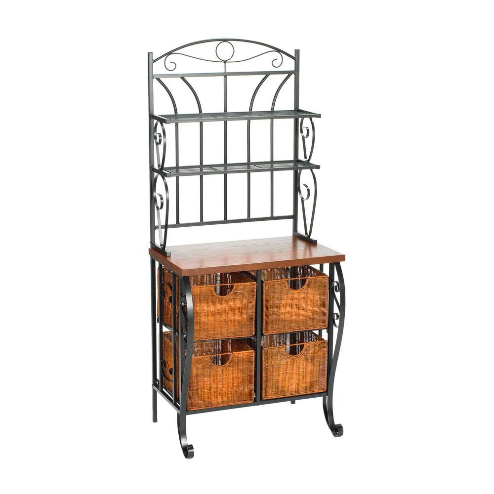 Home Decorators Collection Iron and Wicker 28 in. W Baker's Rack in Black