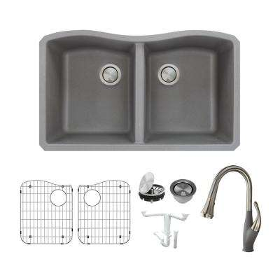 Aversa All-in-One Undermount Granite 32 in. Equal Double Bowl Kitchen Sink with Faucet in Grey
