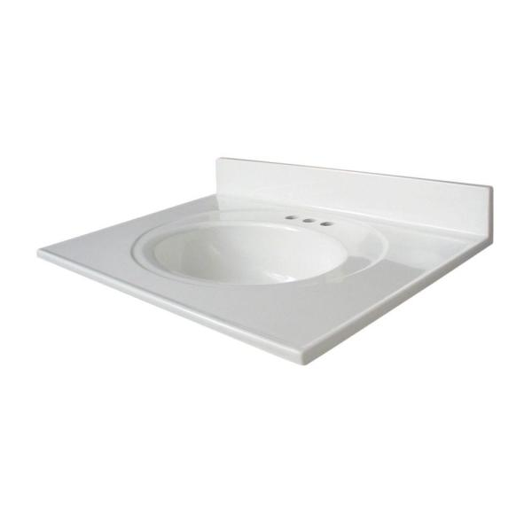 Newport 31 in. W x 22 in. D Cultured Marble Vanity Top in White with White Sink