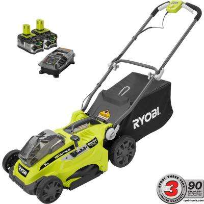 16 in. ONE+ 18-Volt Lithium-Ion Cordless Battery Walk Behind Push Lawn Mower Two 4.0 Ah Batteries/Charger Included
