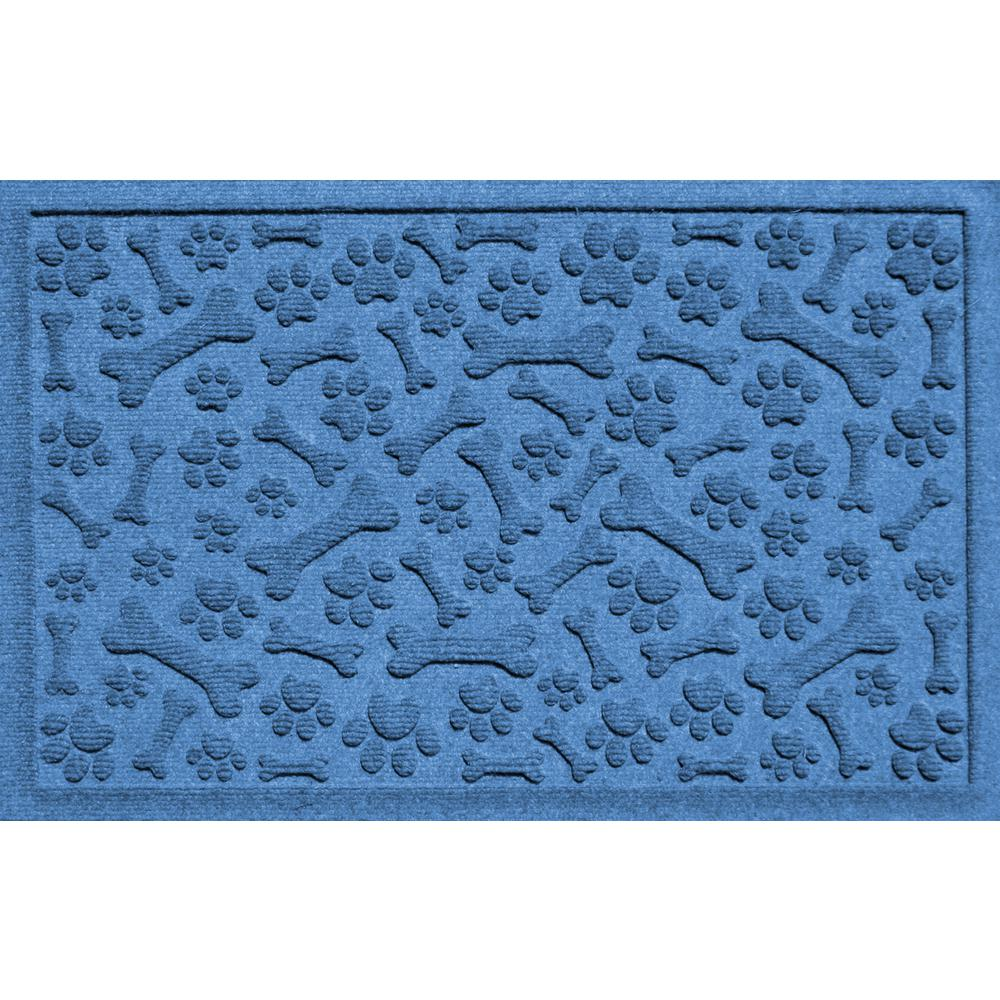 Aqua Shield Medium Blue 24 in. x 36 in. Paws and Bones Polypropylene Pet Mat
