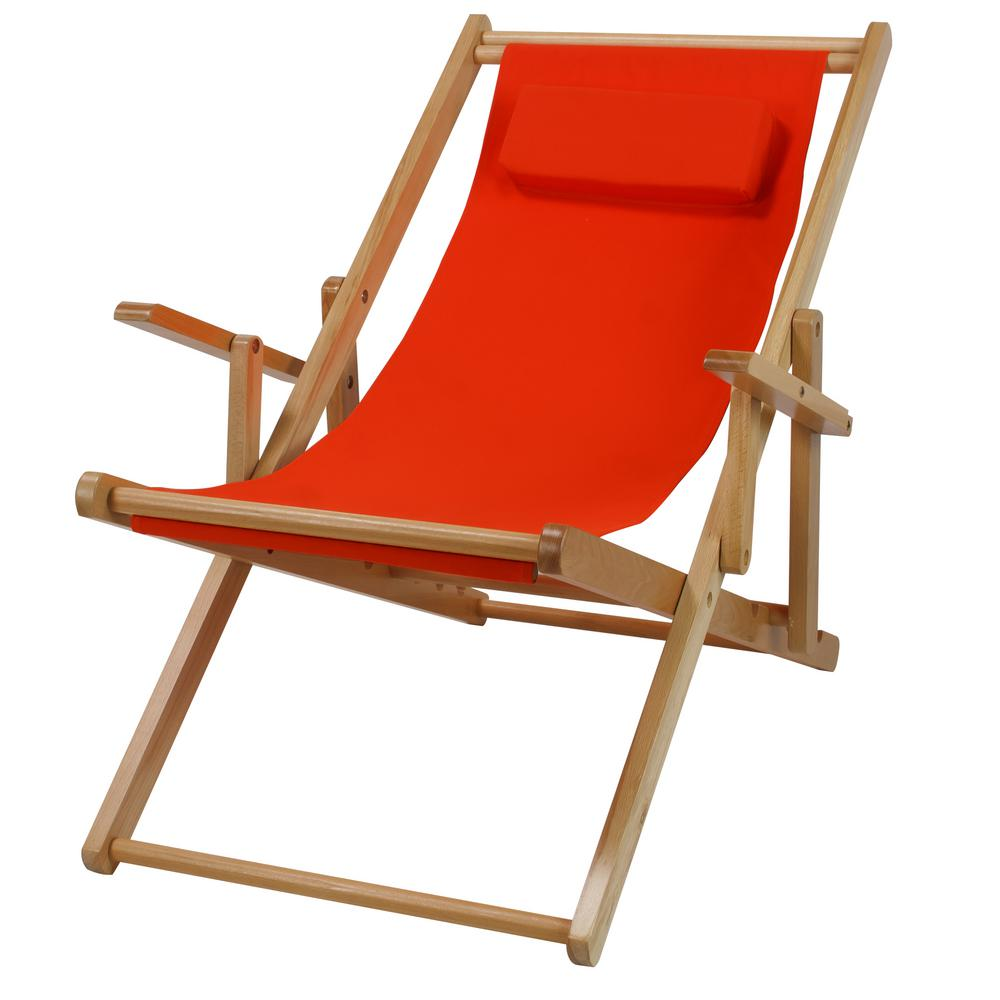 Charmant Casual Home Natural Frame And Orange Canvas Solid Wood Sling Chair