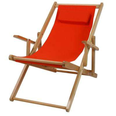 Natural Frame and Orange Canvas Solid Wood Sling Chair