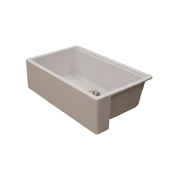 Empire Industries Titan Farmhouse Granite Composite 33 In Single Bowl Kitchen Sink In Pearl White With Cutting Board And Strainer T33s3w The Home Depot