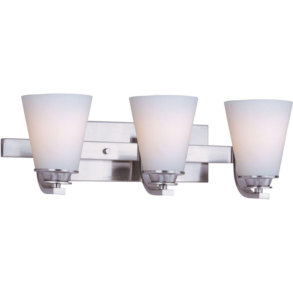 Conical 3-Light Satin Nickel Bath Vanity Light