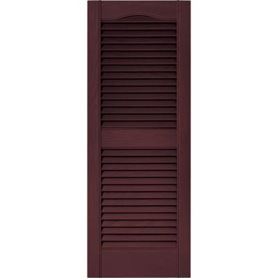 15 in. x 39 in. Louvered Vinyl Exterior Shutters Pair in #167 Bordeaux