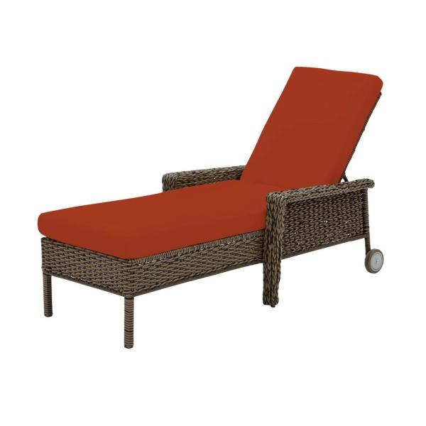 Laguna Point Brown Wicker Outdoor Patio Chaise Lounge with CushionGuard Quarry Red Cushions
