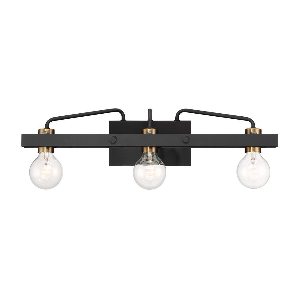 Ravella 3-Light Black Interior Bath Bar Light
