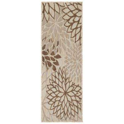 Jardin Collection Beige 1 ft. 8 in. x 2 ft. 11 in. Leaves Design Runner Rug