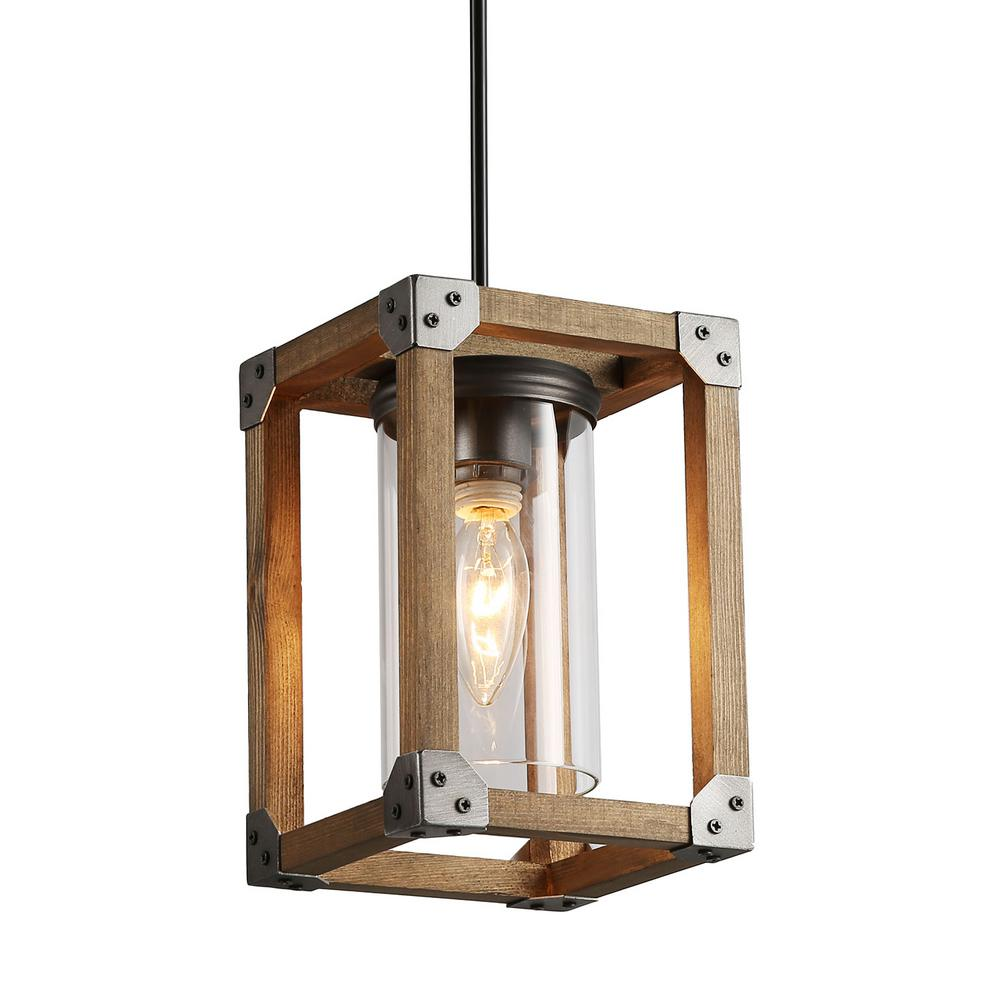 Lnc Eniso 1 Light Graphite Gray Wood Square Pendant Lighting With Clear Gl
