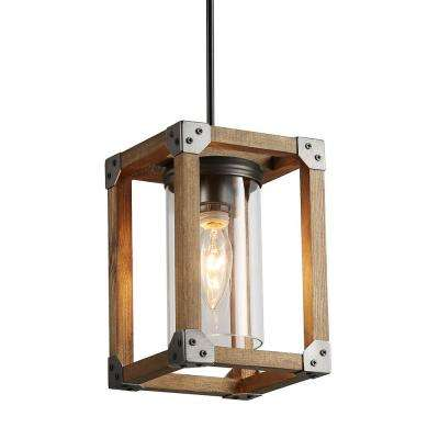Eniso 1-Light Graphite Gray Wood Square Pendant Lighting with Clear Glass