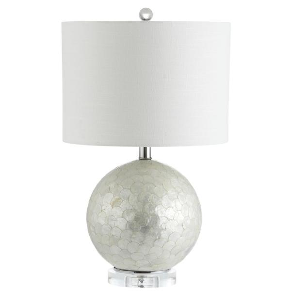 Jonathan Y Zuri 23 5 In Pearl White Capiz Seashell Sphere Table Lamp Jyl1055a The Home Depot