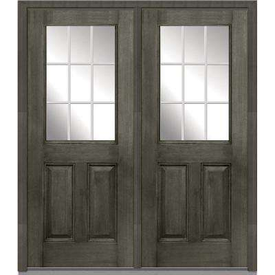 72 in. x 80 in. White Internal Grilles Left-Hand Inswing 1/2-Lite Clear Stained Fiberglass Mahogany Prehung Front Door