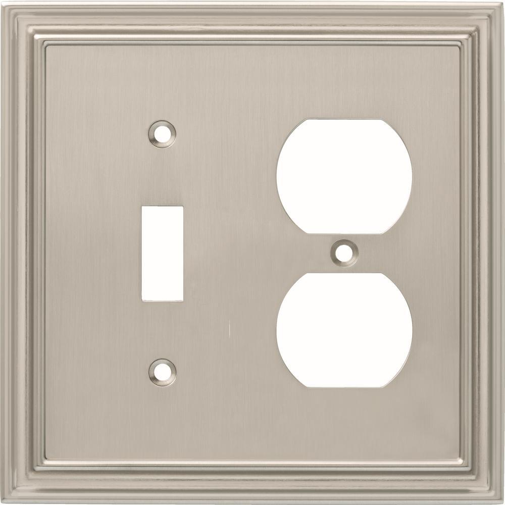 Liberty Silverton 2-Gang Switch and Duplex, Satin Nickel
