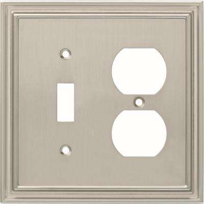 Silverton 2-Gang Switch and Duplex, Satin Nickel