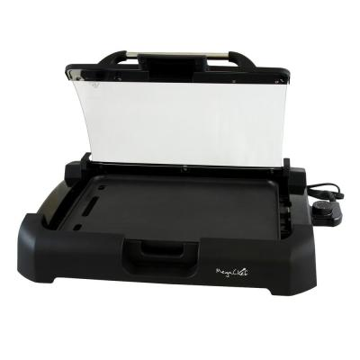 165 sq. in. Black Reversible Indoor Grill and Griddle with Removable Lid