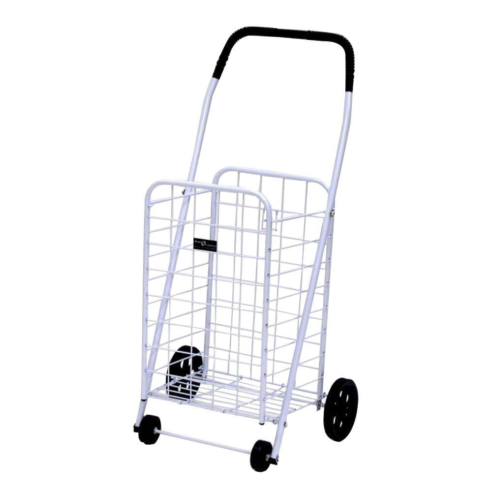 Easy Wheels Mini-A Shopping Cart in White The Easy Wheels Mini-A Shopping Cart has been the industry's premier cart with industrial strength for home use. When lying down, with the cart folded, the highest measurement is the wheels with a 5.75 in. Dia giving an incredible amount of convenience in a compact size. This particular model comes with hardened plastic and rubber-like tread. Color: White.