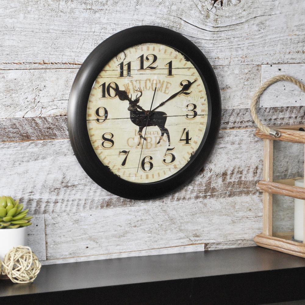 11 in. Round Buck Slim Wall Clock