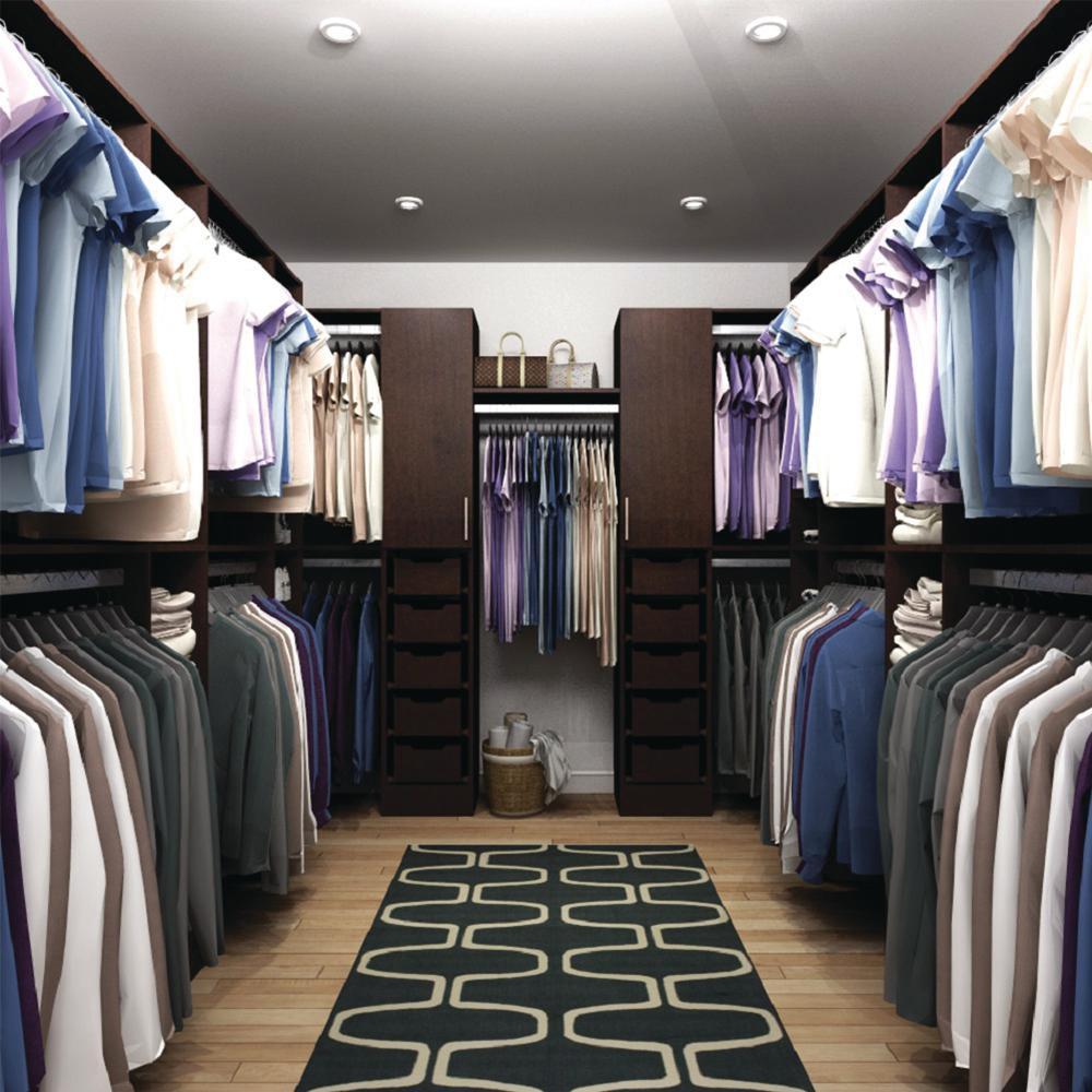 Horizon 165 in. D x 150 in. W x 84 in. H Melamine Walk-in Closet System Kit in Mocha