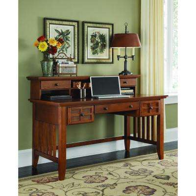 Arts and Crafts Cottage Oak Desk with Hutch