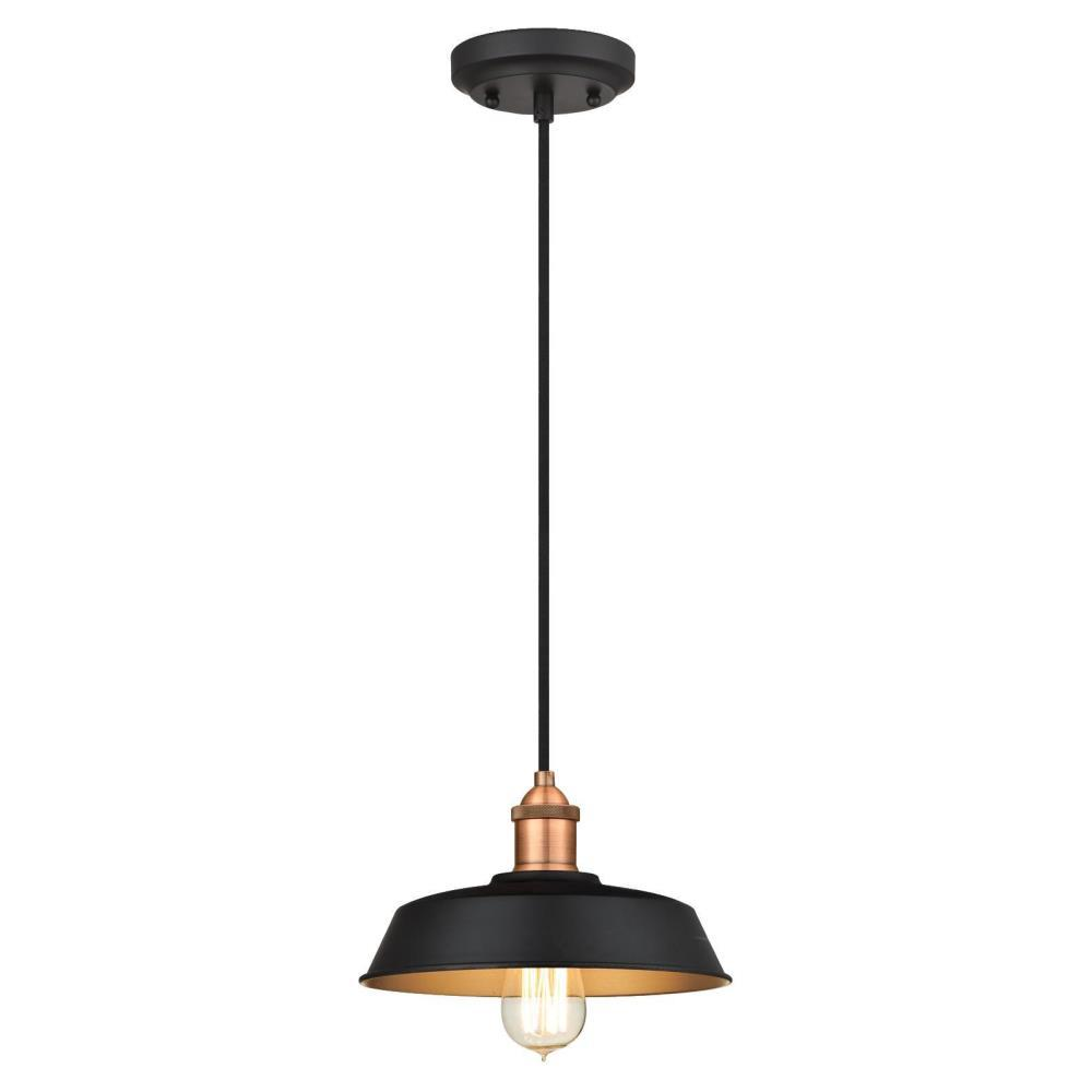 Westinghouse 1-Light Matte Black And Washed Copper Pendant
