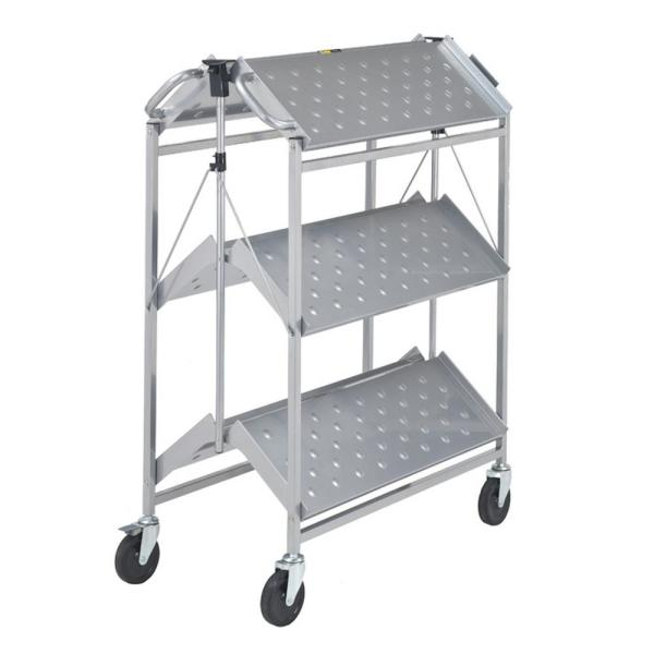 Folding Master Busing Cart, 3-Shelf  Grey 550 lb. Cap with 5 in. Swivel Caster