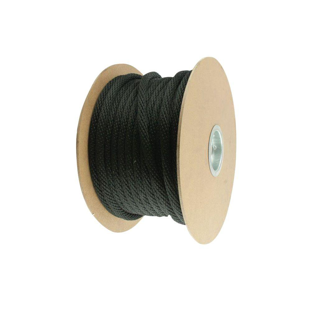 5/8 in. x 1 ft. Black Solid Braid Polypropylene Rope