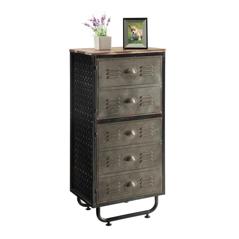 Locker Room Black and Gray 2-Door Bookcase