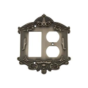 Nostalgic Warehouse Victorian Switch Plate with Rocker and Outlet in Antique... by Nostalgic Warehouse