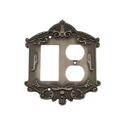 Victorian Switch Plate with Rocker and Outlet in Antique Pewter