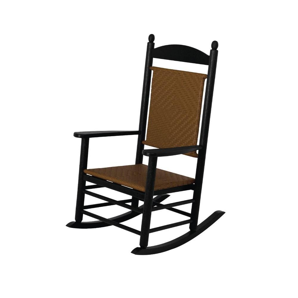 Jefferson Black Woven Patio Rocker with Tigerwood Weave