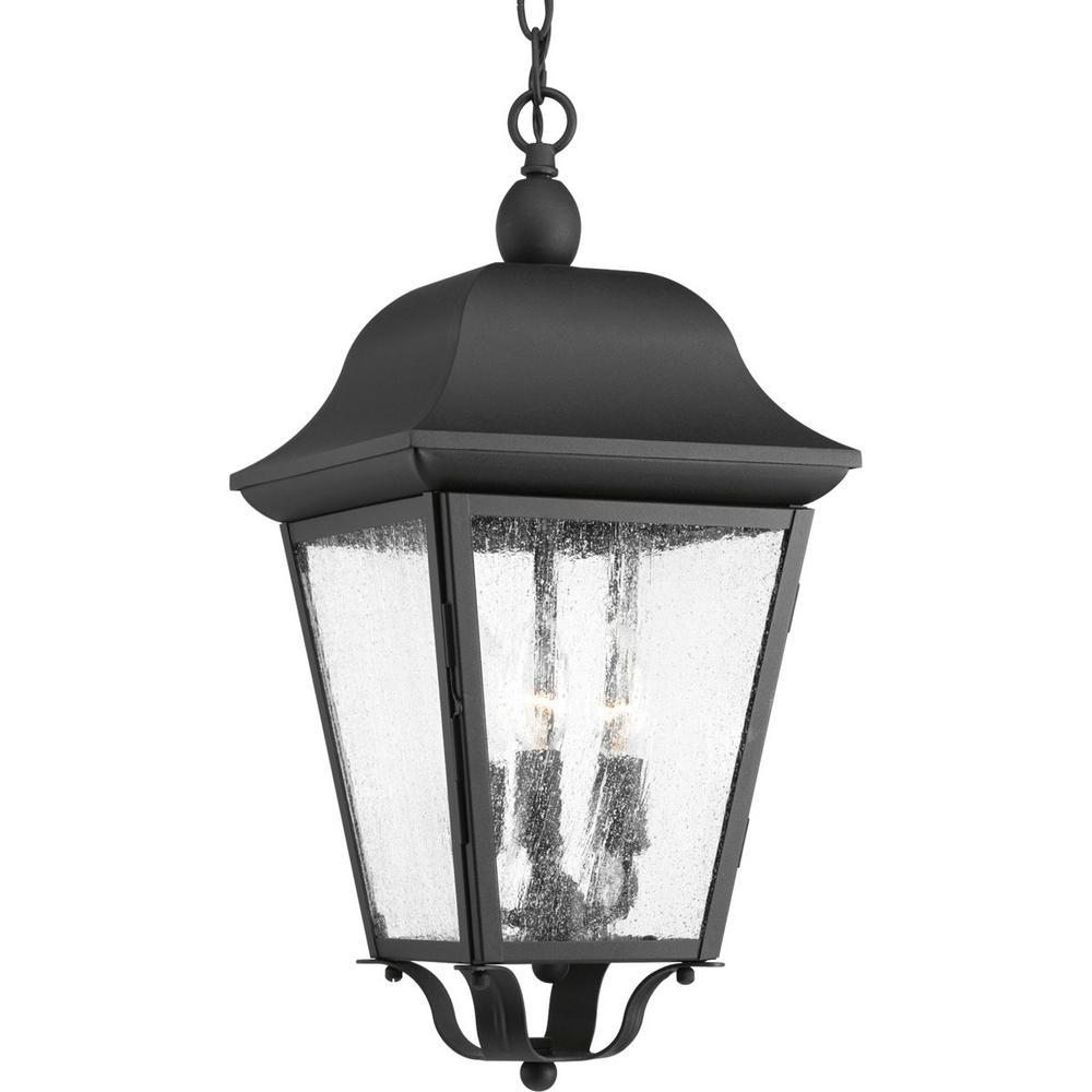Kiawah Collection 3-Light Outdoor Black Hanging Lantern