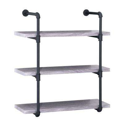 Light Oak Gray Industrial Pipe-Mounted 3-Tier Shelf
