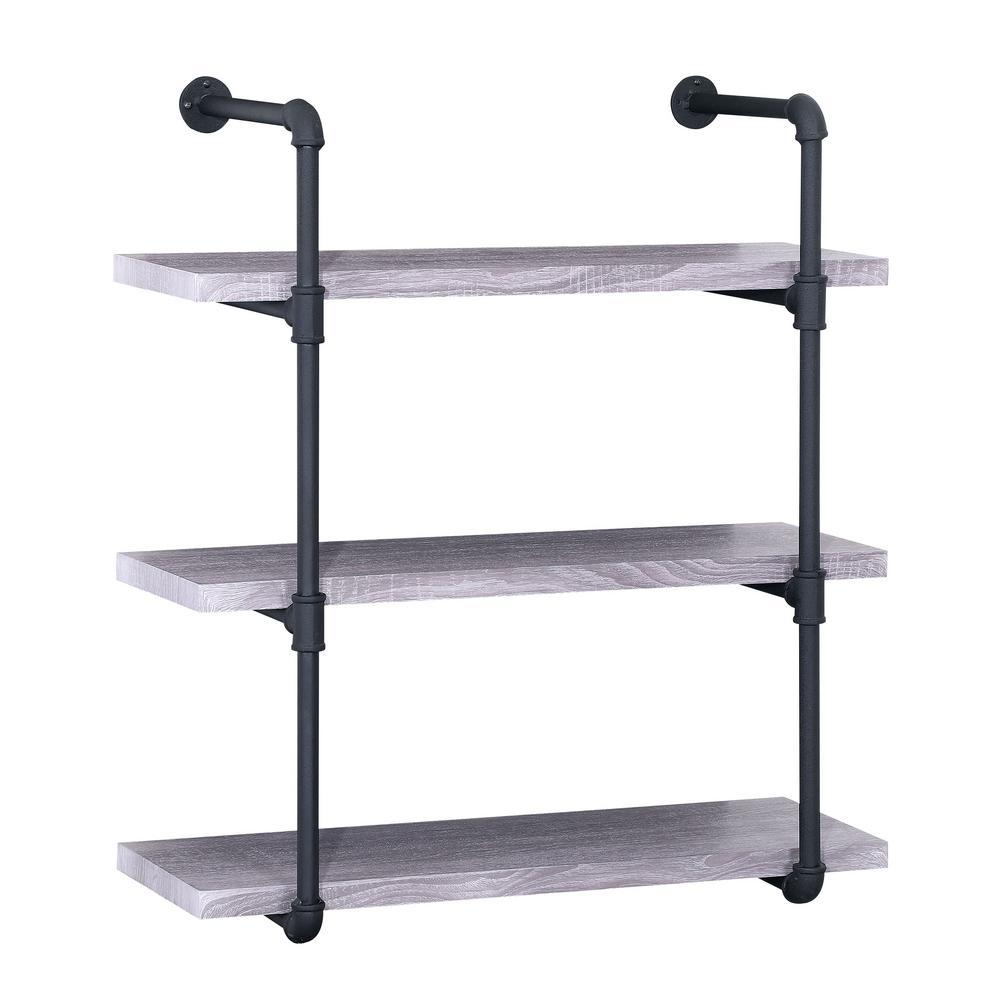 Light Oak Gray Industrial Pipe-Mounted 3-Tier Shelf