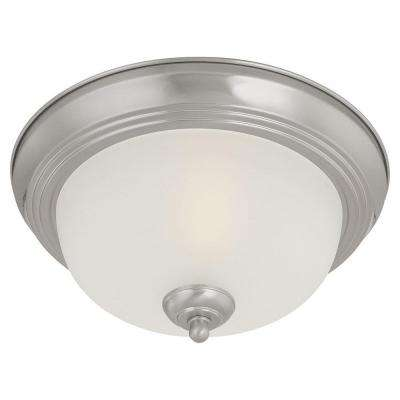 2-Light Brushed Nickel Ceiling Flushmount