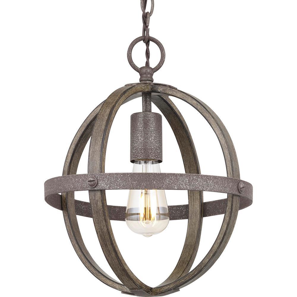 Keowee 1-Light Artisan Iron Mini-Pendant with Distressed Elm Wood Accents
