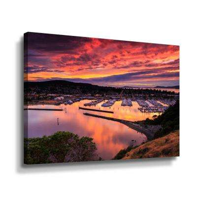 'Red sunset over harbor' by  Shawn & Corinne severn Canvas Wall Art