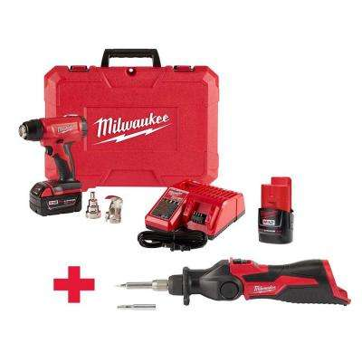 M18 18-Volt Lithium-Ion Cordless Compact Heat Gun and M12 Soldering Iron Kit with 2-Batteries, Charger, Hard Case