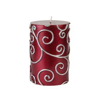 3 in. x 4 in. Red Scroll Pillar Candle Bulk (12-Case)